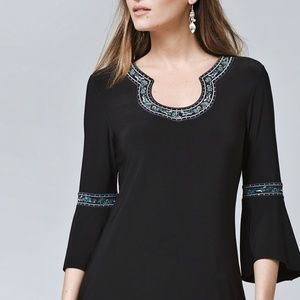 WHBM | Embroidered Bell Sleeve Tunic Shirt Small